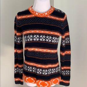 Jcrew baby blue and orange sweater